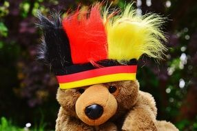 teddy in colorful hat at european soccer championship