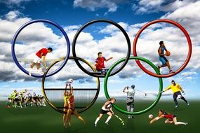 image of athletes and olympic rings