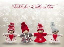 funny dolls on a merry christmas card