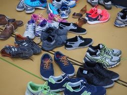 running sports shoes in the corridor