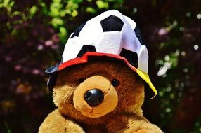 teddy in a hat like a soccer ball