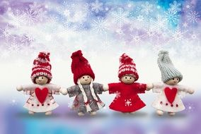 dolls on christmas card