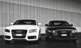 black and white Audi parked