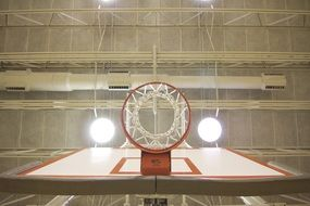 photo of a basketball hoop bottom view