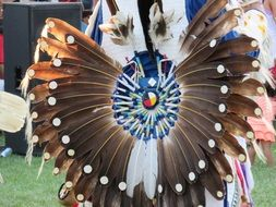 warrior with long feathers at a ceremony