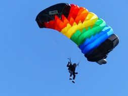 colorful parachute of skydiver