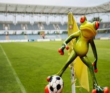 Statuette of frog playing football