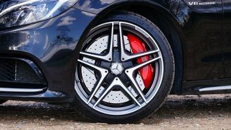 wheel in a luxury Mercedes close-up