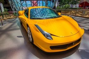 yellow ferrari in the yard