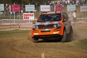 race car on a rally in india