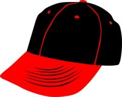 red and black Baseball cap, drawing