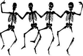 painted four dancing skeletons