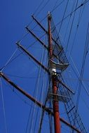 the mast of a sailing boat