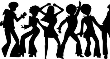 Black silhouettes of the people on disco dance clipart