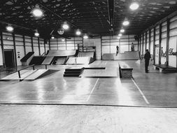 Black and white photo of the skate park