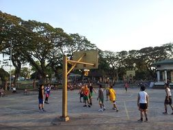 Playing basketball in Philippines