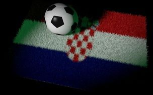 soccer ball on the carpet colors of the flag of Croatia