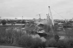 black and white photo of olympic park in munich