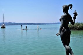 woman Statue on the Lake