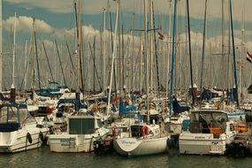 sailing boats in the port of the city of brescena