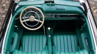 top view of the saloon of a 1950s Mercedes