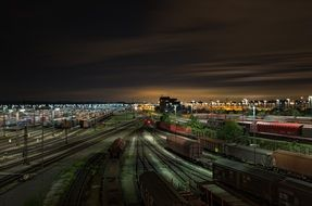 panoramic view of the large train station in lower saxony at night