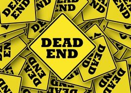yellow road signs dead end