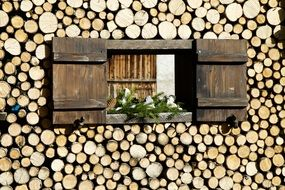 shutters on a wooden facade made of logs