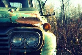 old rusty truck in an abandoned place