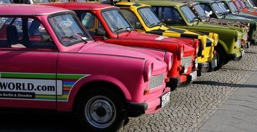 picture of the parked colorful cars in Berlin