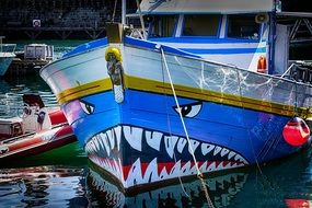 picture of the shark is painted on a boat