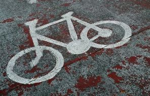 White bicycle sign on the road