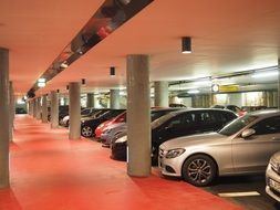 cars in a parking lot in a multi-storey car park