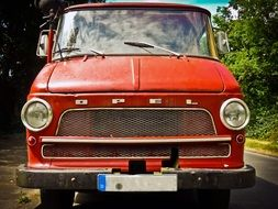 red retro opel van