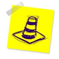 Drawing of a traffic cone on a yellow sheet