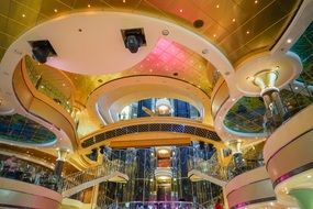 Ornate contemporary interior of Cruise Ship