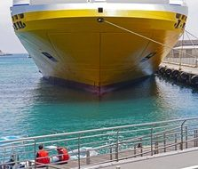 yellow ship at the port in Nice