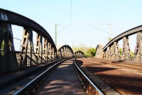 Railroad tracks on the bridge