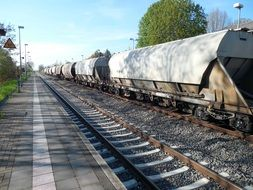 Freight train on the railway
