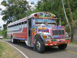 colorful school bus rides on the road
