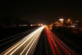 Long Exposure photography of highway at night