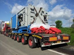 Heavy truck transport on a road