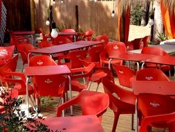 Chairs in a Street Cafe