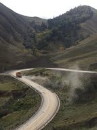 panoramic view of a winding dusty road in qinghai province
