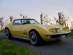 old yellow Corvette