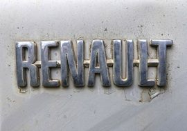 Renault logo on an antique car