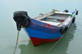 fishing motor Boat Moored on Water