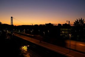 panoramic view of the train station at dusk
