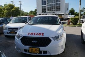 white police car on Grand Cayman