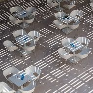Tables and chairs in a summer cafe